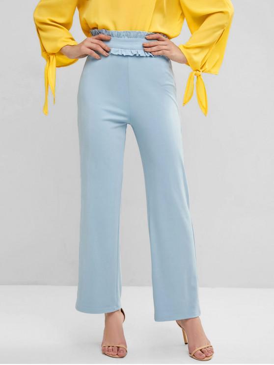 ladies Frilled High Waisted Wide Leg Pants - DENIM BLUE XS