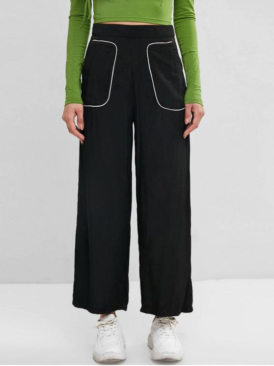 shops Binding Pocket Wide Leg Palazzo Pants - BLACK M
