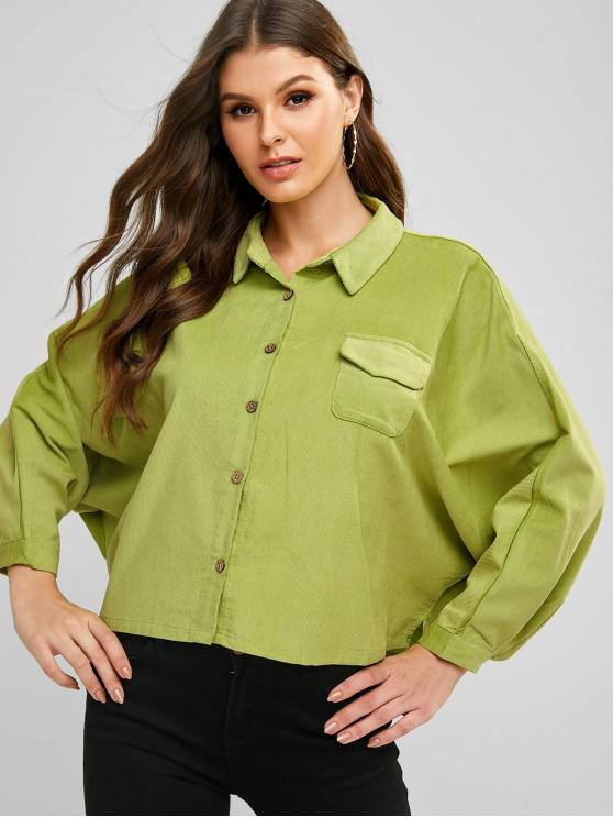 women's Corduroy Batwing Sleeve Pocket Shirt - GREEN 2XL