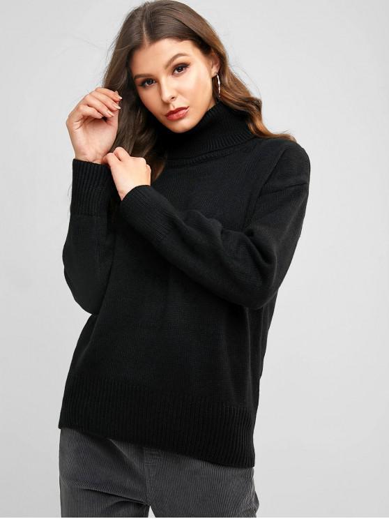trendy Turtleneck Plain Drop Shoulder Sweater - BLACK ONE SIZE