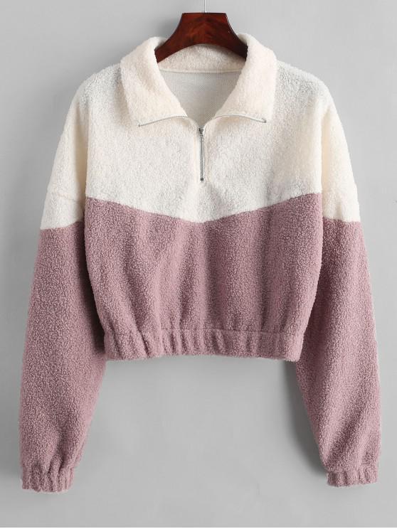 online Two Tone Half Zip Teddy Sweatshirt - LILAC M