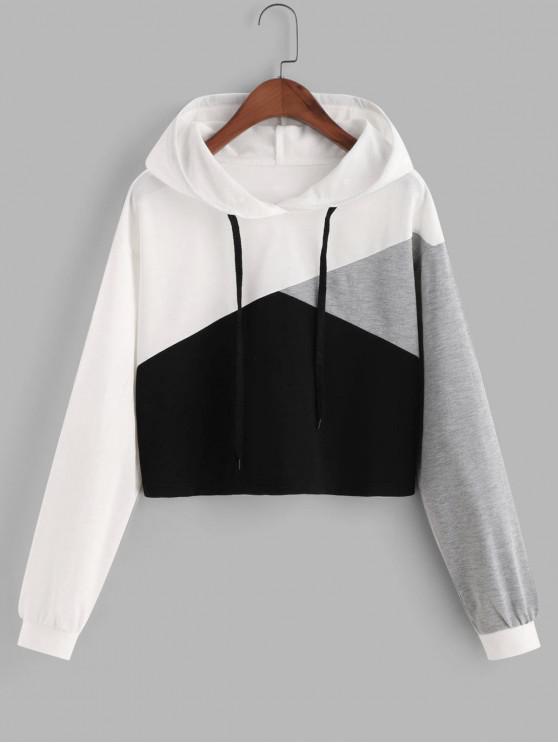 shop ZAFUL Drawstring Drop Shoulder Contrast Cropped Hoodie - MULTI-C L