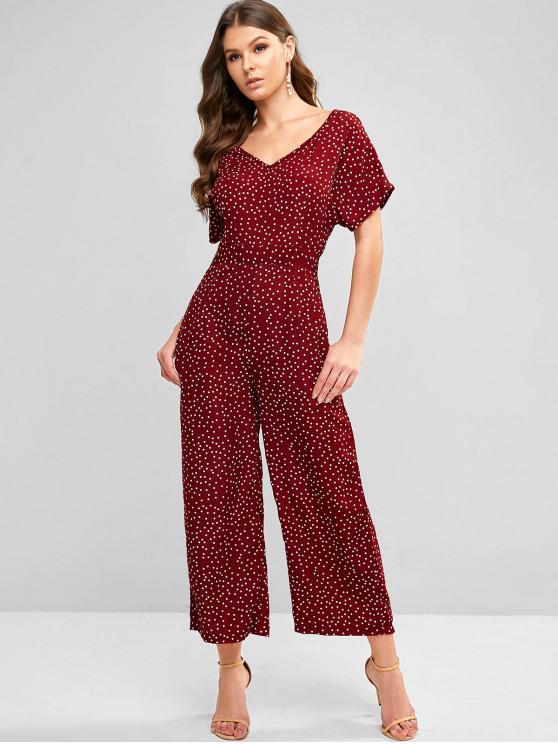 womens Polka Dot Pocket Wide Leg Palazzo Jumpsuit - FIREBRICK S