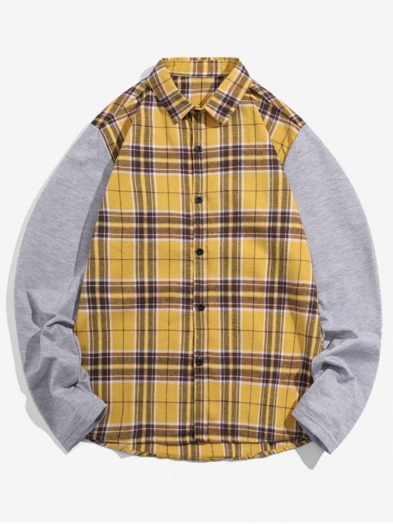 lady Plaid Spliced Design Long Sleeves Shirt - GOLDENROD M