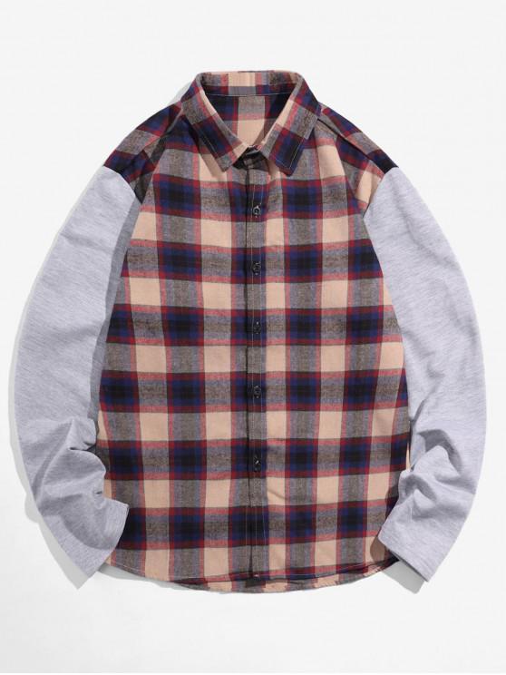 ladies Plaid Spliced Design Long Sleeves Shirt - PUCE S