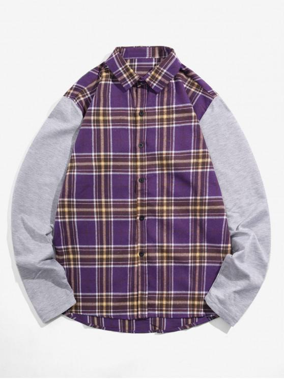 new Plaid Spliced Design Long Sleeves Shirt - PURPLE IRIS XL