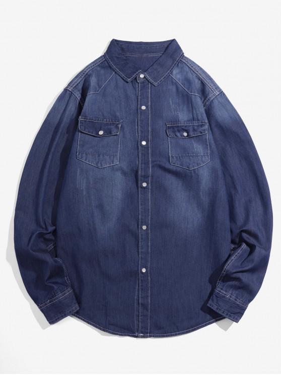 new Solid Chest Pocket Long Sleeve Button Denim Shirt - DEEP BLUE S