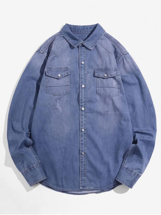 ladies Solid Chest Pocket Long Sleeve Button Denim Shirt - LIGHT BLUE XS