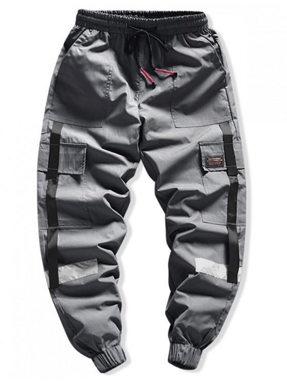 Cara de la solapa de bolsillo empalmado apliques de carga del basculador de pantalones - Gris Oscuro L