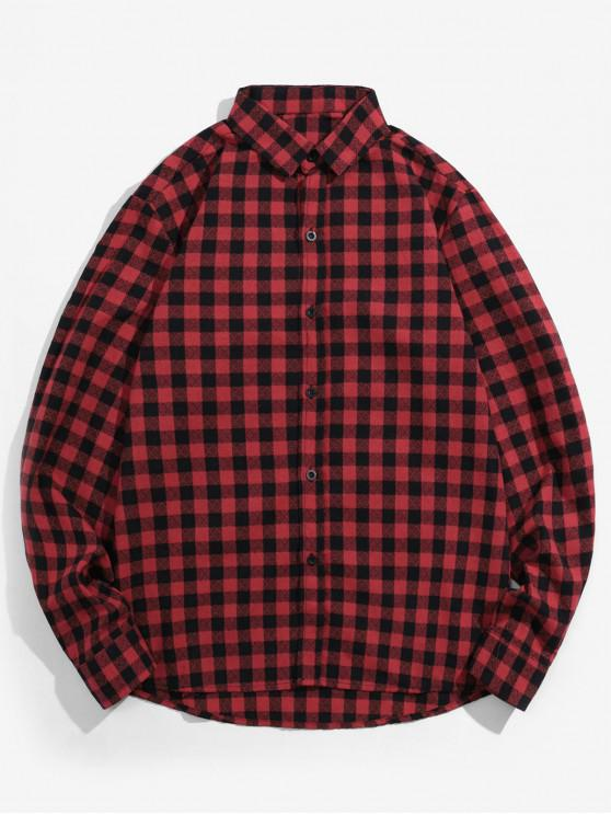 womens Plaid Printed Button Up Casual Shirt - LAVA RED L