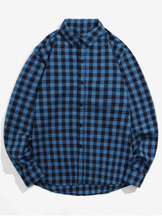 trendy Plaid Printed Button Up Casual Shirt - COBALT BLUE S