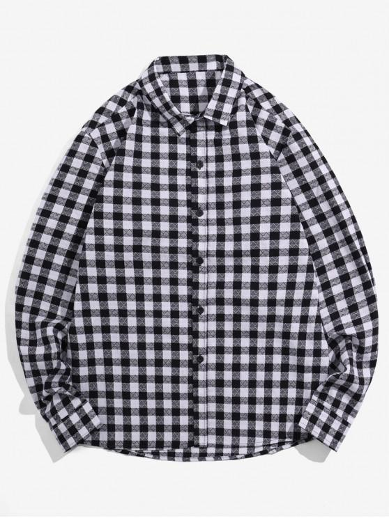 best Plaid Printed Button Up Casual Shirt - BLACK XL