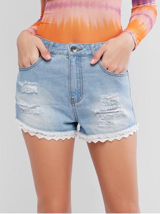 ladies ZAFUL Lace Panel Ripped Frayed Hem Denim Shorts - JEANS BLUE M