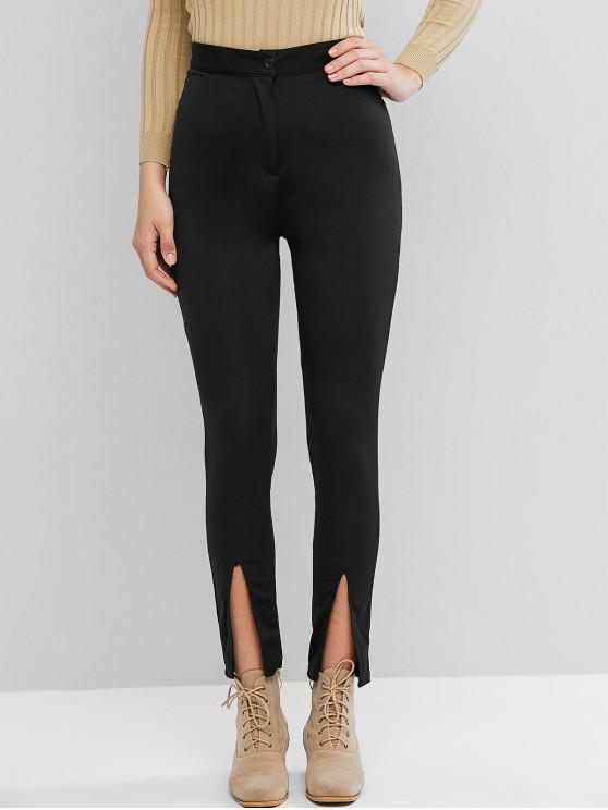 women's High Rise Zip Fly Slit Skinny Pants - BLACK L
