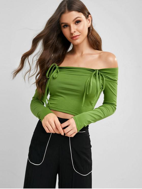 shop Long Sleeve Cinched Off Shoulder Tee - YELLOW GREEN M