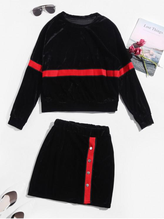 women's Contrast Tape Snap Button Velvet Two Piece Dress - BLACK XL