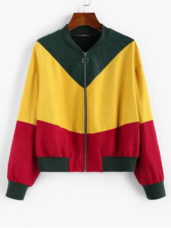 ladies ZAFUL Colorblock O-ring Bomber Jacket - MULTI L