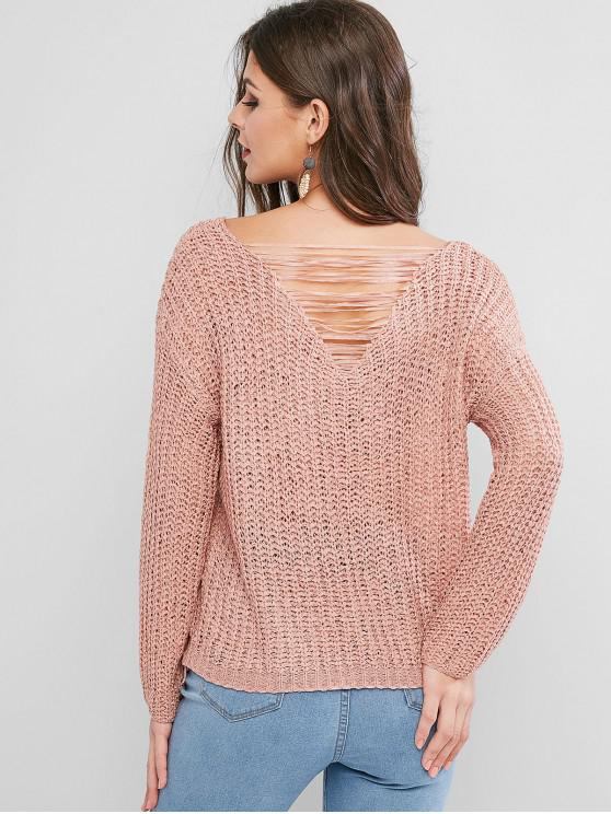 outfits Ripped Back Drop Shoulder Crochet Sweater - PINK ONE SIZE