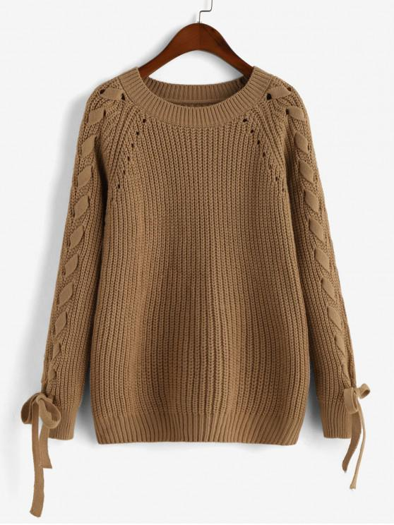 latest Lace-up Raglan Sleeve Ribbed Open Knit Sweater - CAMEL BROWN L