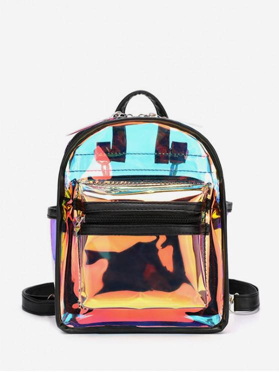 womens Transparent Multi-use Street Backpack - BLACK