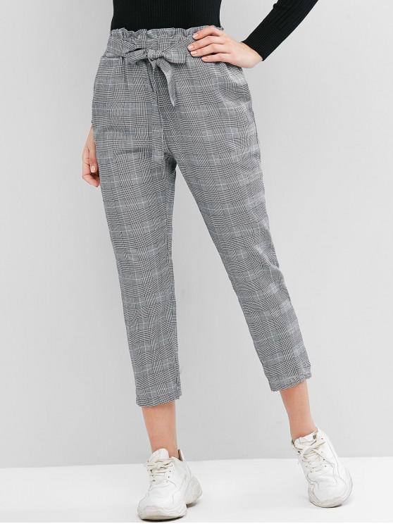 unique High Waisted Plaid Pocket Paperbag Pencil Pants - GRAY M