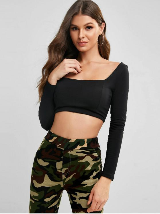 shops Square Lace Up Back Cropped Tee - BLACK XS