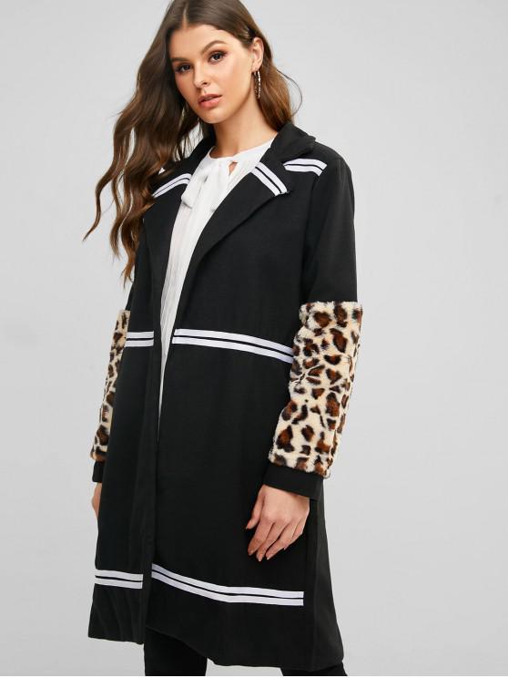 latest Fuzzy Leopard Striped Panel Open Long Coat - BLACK M