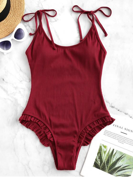fashion ZAFUL Tie Frilled Ribbed One-piece Swimsuit - LAVA RED L