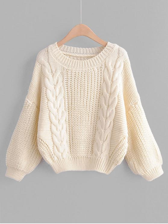 buy Drop Shoulder Lantern Sleeve Chunky Knit Sweater - WHITE ONE SIZE