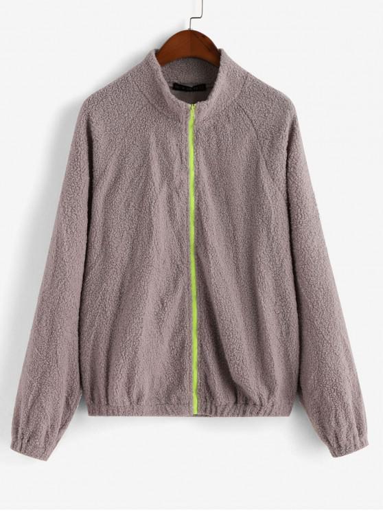 outfit ZAFUL Zip Up Raglan Sleeve Faux Shearling Jacket - GRAY CLOUD XL