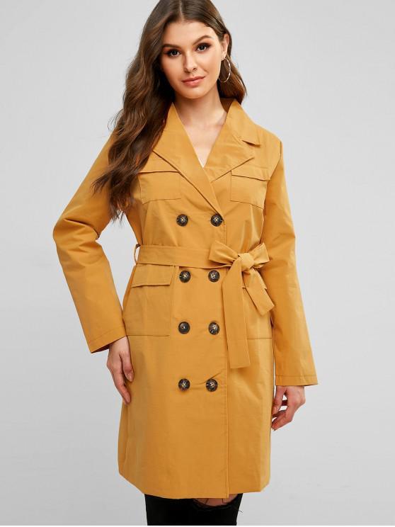 Zweireihiger Regenmantel mit Gürtel und Tasche - Orange Gold M