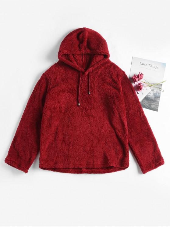 lady Plain Drawstring Fluffy Teddy Hoodie - RED WINE XL