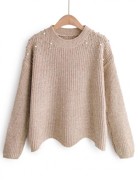 trendy Beads Embellished Chunky Knit Zigzag Hem Sweater - WARM WHITE ONE SIZE