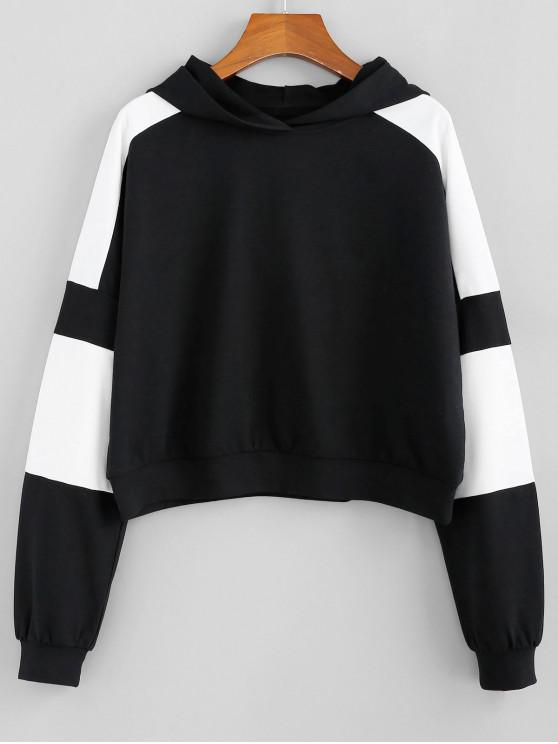 ladies ZAFUL Two Tone Raglan Sleeve Pullover Hoodie - BLACK L