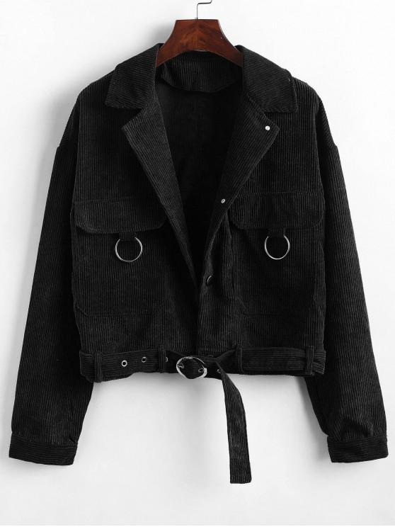 latest Button Up Pockets Belted Corduroy Jacket - BLACK M