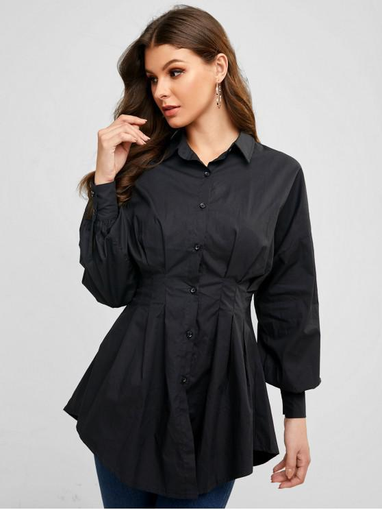 outfit Ruched Waist Button Down Long Sleeve Shirt Dress - BLACK S
