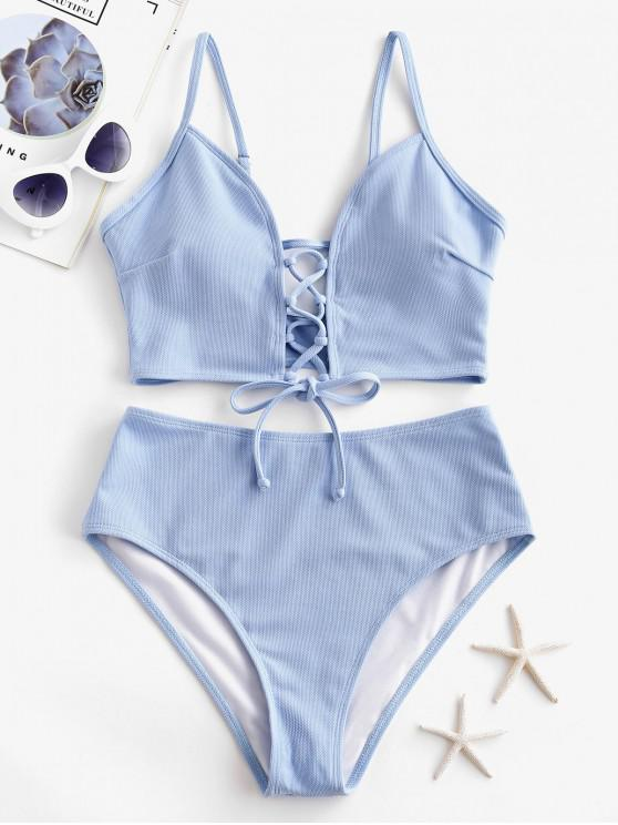 online ZAFUL Textured Lace-up Tankini Swimsuit - LIGHT SKY BLUE XL