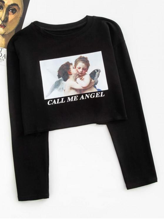 new CALL ME ANGEL Graphic Cropped Top - BLACK M