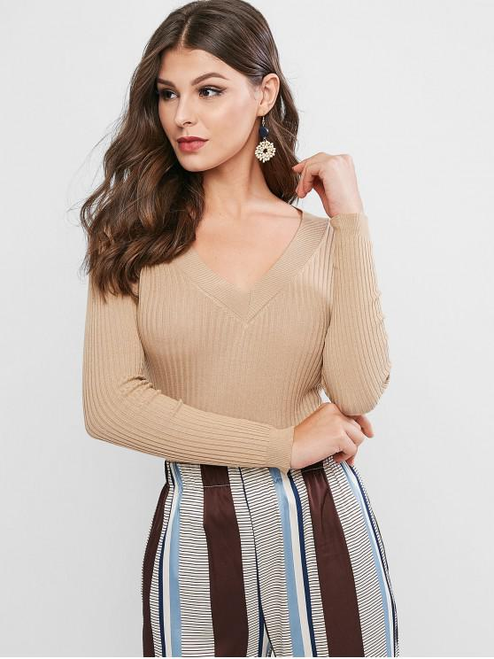 outfit Ribbed V Neck Basic Sweater - TAN ONE SIZE