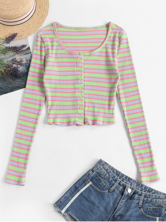 ladies Ribbed Button Up Stripes Cropped Tee - MULTI-A S