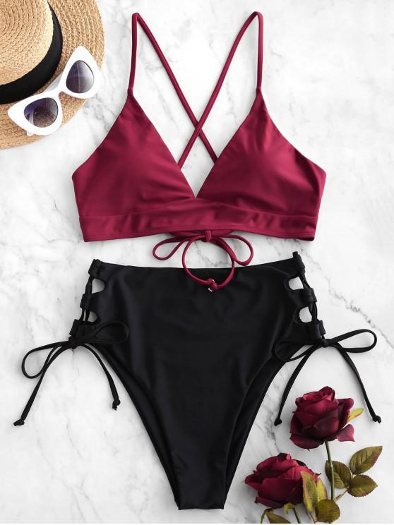 best ZAFUL Lace Up High Leg Colorblock Tankini Swimsuit - RED WINE S