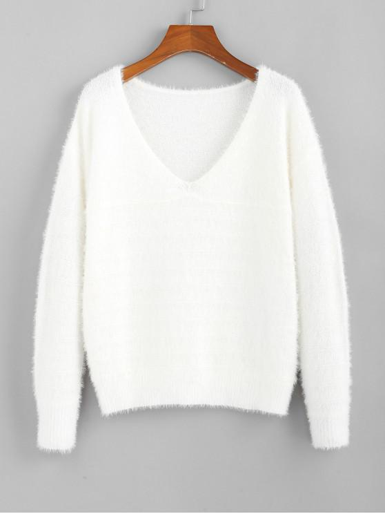 ZAFUL Fuzzy Knitted V Neck Drop Shoulder Sweater MILK WHITE