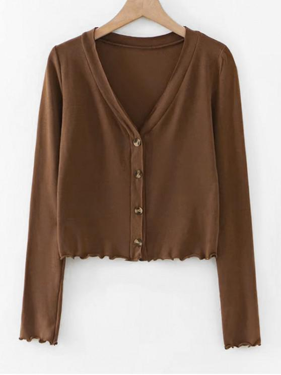 new Lettuce Hem Long Sleeve Cropped Cardigan - BROWN S