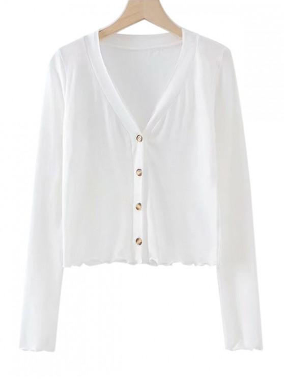 hot Lettuce Hem Long Sleeve Cropped Cardigan - WHITE M