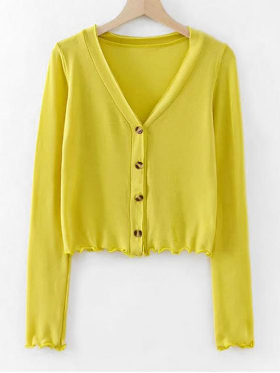 shops Lettuce Hem Long Sleeve Cropped Cardigan - YELLOW M