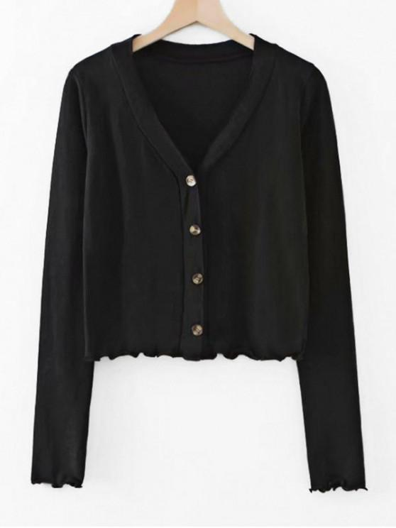 fashion Lettuce Hem Long Sleeve Cropped Cardigan - BLACK S