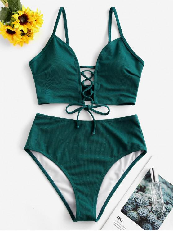 womens ZAFUL Textured Lace-up Tankini Swimsuit - GREENISH BLUE 2XL
