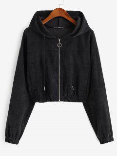 Faux Pockets Corduroy Crop Hooded Jacket - Black M