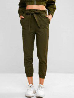 Pocket Belted Paperbag Waist Jogger Pants - Camouflage Green M