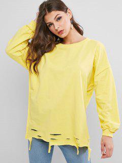 Ripped Drop Shoulder Oversized Raw Cut Tunic Sweatshirt - Yellow